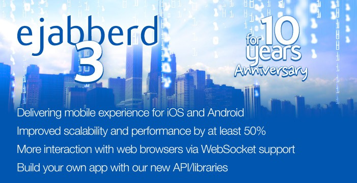 ejabberd 3.0 for 10-year anniversary: 			• Delivering mobile experience for iOS and Android, 			• Improved scalability and performance by at least 20%, 			• More interaction with web browsers via WebSocket support, 			• Build your own app with our new API/libraries